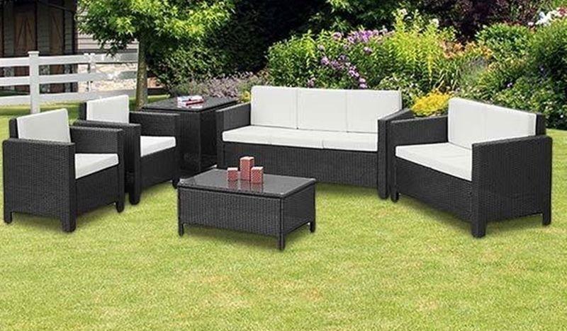 XL Outdoor Brown Rattan Sofa Set Contemporary Garden Sofa Chair Table Patio Set image 2