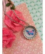 Multicolor Watercolor Butterfly Bottle Cap Necklace - $4.00