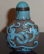 ANTIQUE CHINESE CARVED PEKING GLASS SNUFF BOTTLE WITH OVERLAY BLUE DRAGONS - $1,500.00