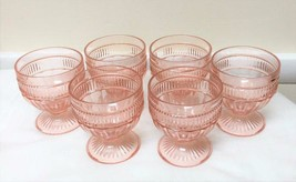 6 Anchor Hocking Annapolis Rosewater Pink 8 oz. Footed Sundae / Sherbets - $79.19