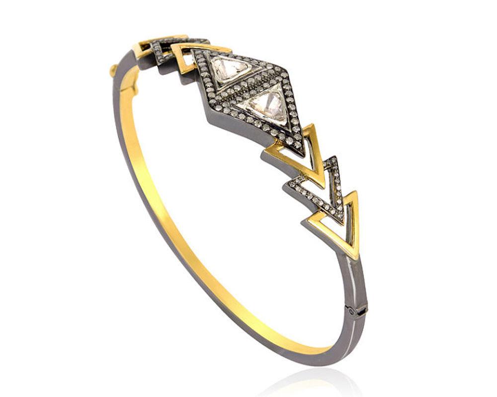 Valentine Style 1.35Ct. Rose Cut Pave Diamond 925 Sterling Silver Girls Bracelet