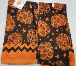 2 SAME PRINTED KITCHEN TERRY TOWELS, HALLOWEEN PUMPKINS, BLACK & ORANGE,AM - $10.88