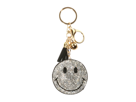 Smile Emoji Tassel Bling Faux Suede Stuffed Pillow Key Chain Handbag Charm - $12.95