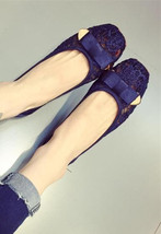 Blue Wedding Shoes,Wedding Flats,Navy Flats,Bridal Shoes Flats,Bridesmai... - £32.17 GBP