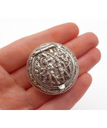 GERMANY 925 Silver - Vintage Antique Etched Figures Round Compact Case -... - $70.13