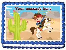 COWBOY Image Edible cake topper Party decoration - $6.50+