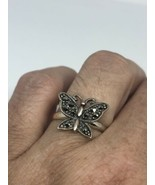 Vintage Butterfly Ring Real Marcasite 925 Sterling Silver Size 6.75 - $68.16