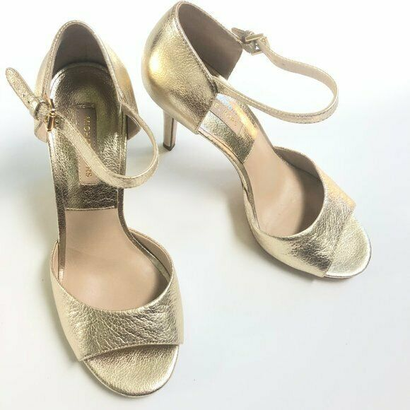 Primary image for Michael Kors Gold Leather Metallic Open Toe Ankle Strap Heels 38 EU 7.5 US