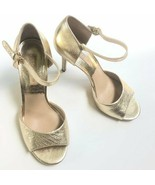 Michael Kors Gold Leather Metallic Open Toe Ankle Strap Heels 38 EU 7.5 US - $29.92