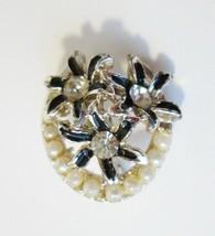 Vintage Small Enamel Flower Brooch Pin w/ Rhinestones & Faux? Pearls Floral - $4.99