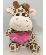 Hug & Luv Giraffe small Plush tan brown spots holding love pink heart pi... - $13.36