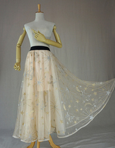 Champagne Maxi Tulle Skirt Outfit Floor Length Tulle Skirt Wedding Party Skirt image 1
