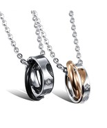 Matching Set Titanium Stainless Steel Heart Shape Pendant Necklace - £18.30 GBP