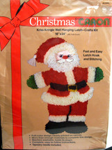 "Christmas From Caron Wall Hanging Latch Kit 18x24"" Kriss Kringle Santa Claus Rug - $34.64"