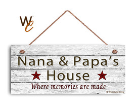 NANA AND PAPA'S HOUSE Sign, Where Memories Are Made, Weathered Style 6x1... - $17.33