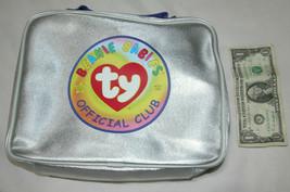"""1999ty beanie babies official club silver zipper bag 25.4cm x 20.3cm x 3.5"""" - £5.62 GBP"""