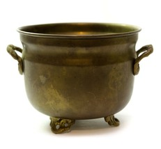 Vintage Solid Brass Footed Small Flower Pot Planter With Handles 5 inch  - $22.74