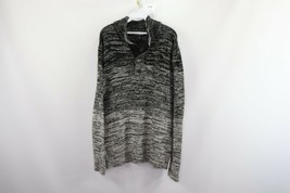 New Express Mens Large Knitted Half Button Pullover Sweater Ombre Black ... - $39.55