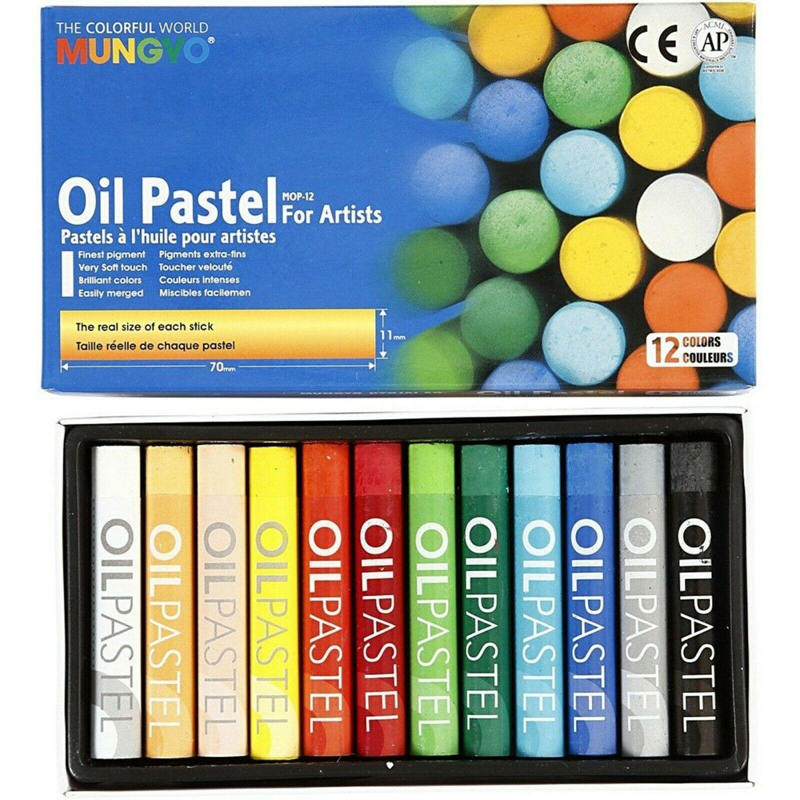 Oil Pastels Mungyo Brand 12 Pastels Quality Colours Art Supplies 70 x 11 mm CR72