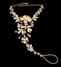 Gold Rhinestone Flower Bridal Hand Jewelry or Barefoot Beach Wedding Sandal - $69.95