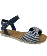 Wonder Nation Girls Denim Blue Stripe Sandals With Ankle Strap Size 4 Bo... - $14.84