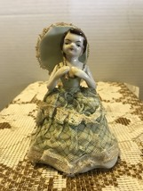 Vintage Ucagco Japan Porcelain and Lace Lady with Paracel Figurine  - $20.00