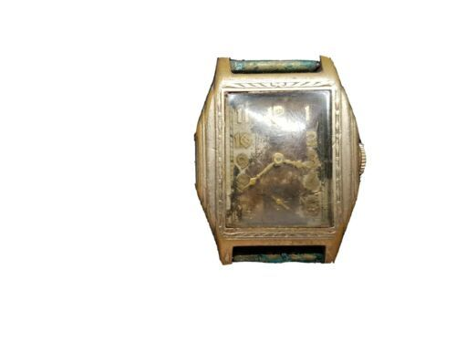 VINTAGE STEPPED HEXAGON CASE ELGIN WATCH FOR YOU TO FIX DIAL AND SPRING - $108.85