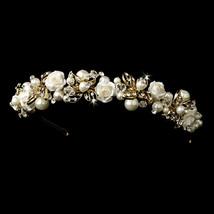 Gold Champagne Pearl Austrian Crystal Porcelain Flower Wedding Tiara Crown - $70.25