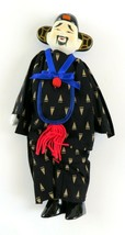Vintage Asian Stuffed Doll Figure, Man in Costume, Porcelain Head and Feet - $15.82