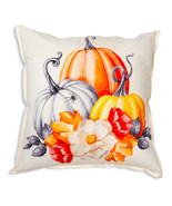Farmhouse PUMPKINS AND FLOWERS COTTON THROW PILLOW Country Fall Cushion Bed - £29.87 GBP