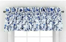 Laura Ashley Charlotte China Blue Designer Valance 100% Cotton Blue White Floral - $21.78