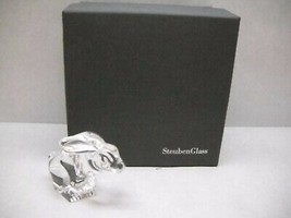 VINTAGE Steuben GLASS Hand COOLER Original BOX Jack RABBIT Carved DETAILS - $164.54