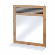 Bamboo Frame Wall Mirror w/ White Shelf Below for Bathroom, Hall, Bedroom - $53.30