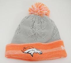 New Era Broncos Womens Stocking Hat Orange Gray Knit Snowflakes Stitched... - $15.83
