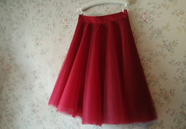 Women Knee Length Tulle Skirt Knee Full Circle Tulle Skirt Party Skirt- Red,Gray image 6