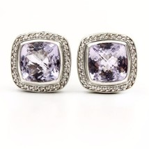David Yurman Sterling Silver Amethyst Diamond Albion Stud Earrings - $787.05