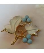 Vintage Sarah Coventry Gold Enamel Floral Leaf Brooch/Pin  - $24.74