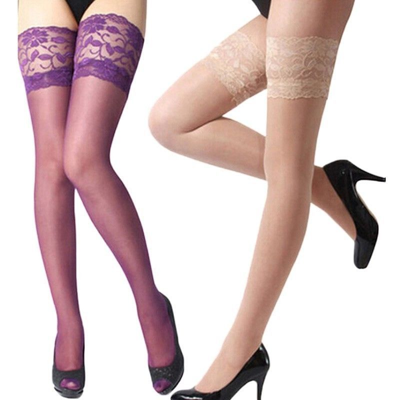 71f8cef3f ITCQUALITY WOMEN SEXY STOCKINGS SOLID TOP LACE SHEER STAY UP THIGH HIGH  ITC1239