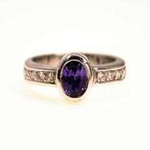 Tanzanite and Diamond Ring 18k White gold engagement Ring Size K 1/2 BHS - $876.26