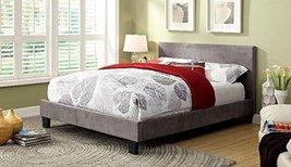 FA Furnishing Besson Platform Twin Bed - Gray Fabric - $480.19