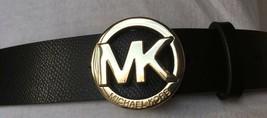 Michael Kors Belt Black Gold Mk Logo Buckle Something Really Different Msrp $58 - $36.54