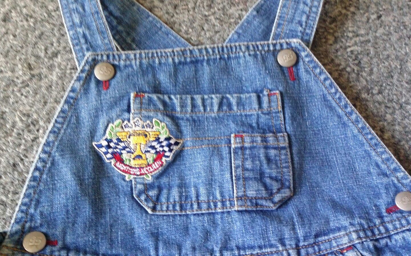 VTG Disney Pixar Cars 95 Lightening McQueen Denim Bibs Shorts 5T Overalls HTF image 5
