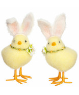 "Raz Imports yellow chicks chicken bunny rabbit ears 7.5"" Easter 3903404 ... - $20.79"