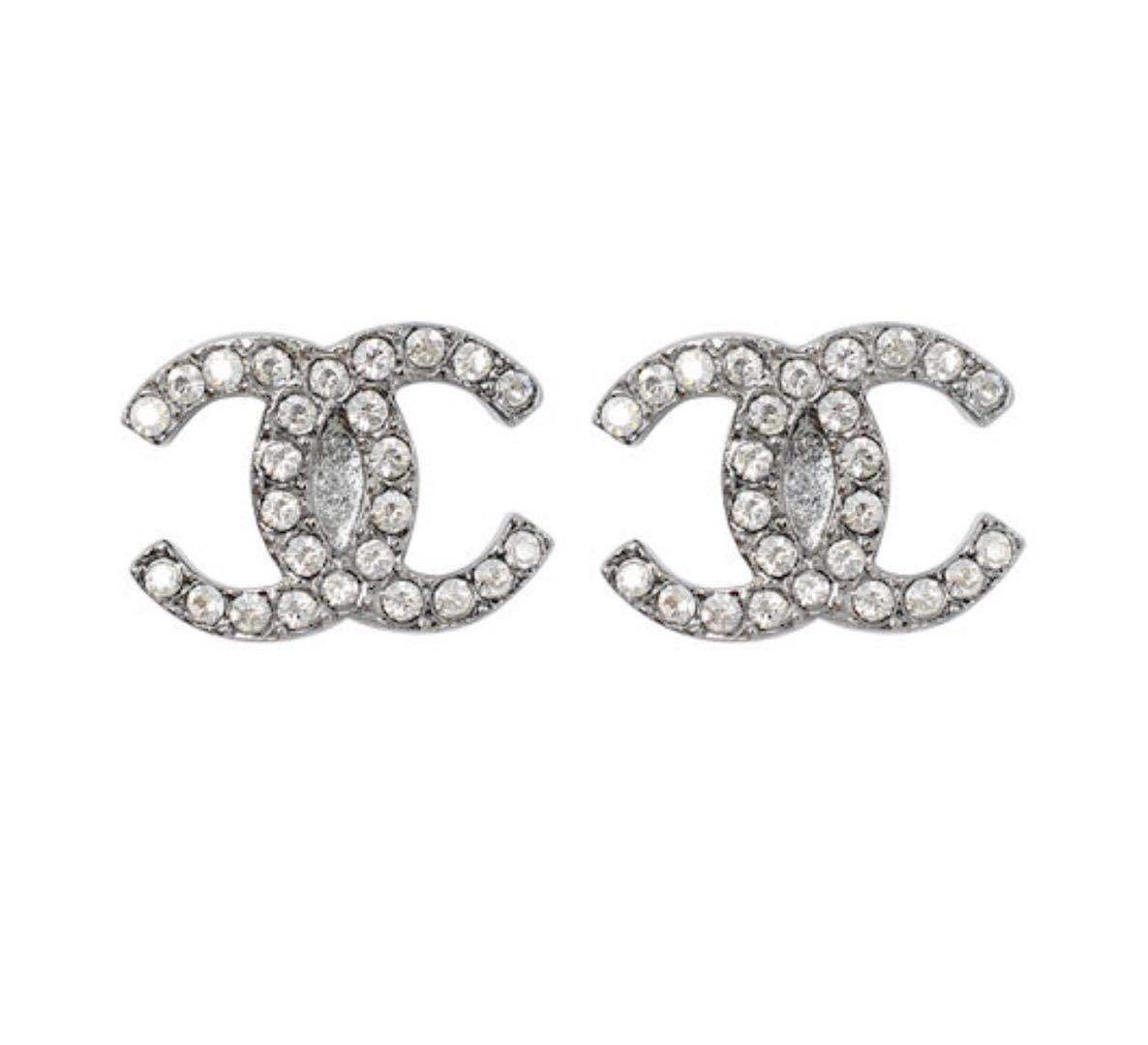 Authentic Chanel CC Logo Crystal Strass Silver Stud Earrings