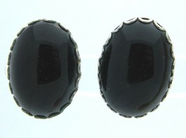 Jet Black Agate Oval Silver Tone Screw-On Earrings Vintage - $13.86