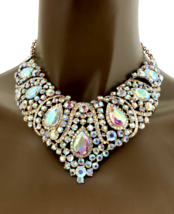 Classy Evening Necklace Earring Set Aurora Borealis Crystals, Prom, Bridal - $39.90