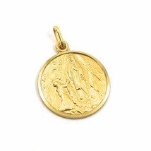 18K YELLOW GOLD SENORA LADY OF LOURDES 15 MM ROUND MEDAL VIRGIN MARY MADE ITALY image 1