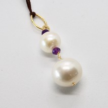 Charm 18k Yellow Gold with white pearls freshwater and Amethyst image 2