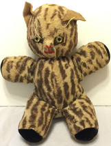 """Vintage Mid Century Stuffed Cat Plush 10"""" Animal Toy Whiskers Spotted Old - $202.94"""