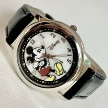 Accutime MK1089 Mother of Pearl Dial Black Leather Band Mickey Mouse Watch - $21.19